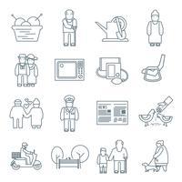 Gepensioneerden leven pictogrammen