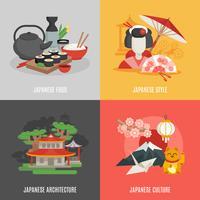 Japanse cultuur platte pictogrammenset