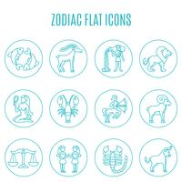 zodiac icon line set vector