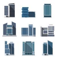 Kantoorgebouwen instellen vector