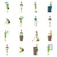 Schoonmakers kleur Flat Icons Set