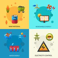 Energiebronnen Icons Set vector