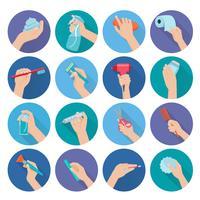 Hand met objecten plat vector
