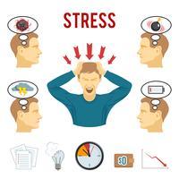 Psychische stoornis en stress pictogrammen instellen vector