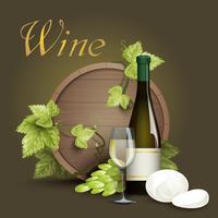 Wijnfles en eiken vatachtergrond