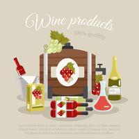 wijn producten flat life still poster vector