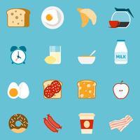 Ontbijt pictogrammen instellen vector