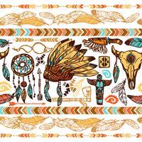 Native Americans naadloze patroon vector