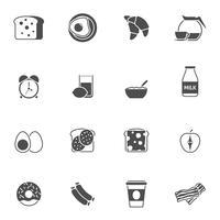 Ontbijt en ochtend zwart witte pictogrammen instellen vector