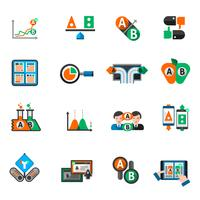 Ab testen Icons Set vector
