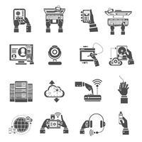 het apparaten pictogrammen zwart