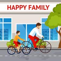 Vader en zoon op fietsen