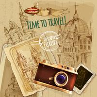 Europa reizen met Camera Vintage Poster