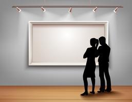 Mensen silhouetten in galerij