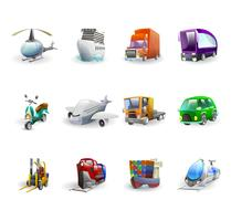 Transport en levering Icons Set vector
