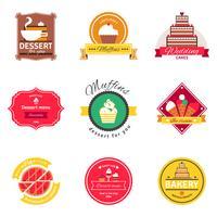Zoetwaren en bakkerij platte emblemen instellen vector