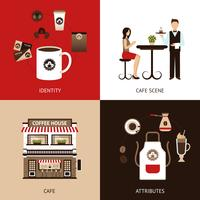 Koffiehuis vlakke set vector