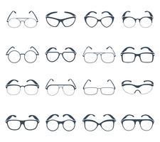 Zonnebril bril zwarte pictogrammen instellen vector