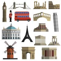Reizen landmark plat pictogrammen instellen vector