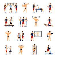 Gym trainer set vector