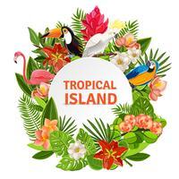 Tropische birs en bloemen vector