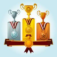 Trofeeën op podium