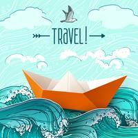 Papieren schip op golven vector