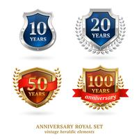Verjaardag gouden heraldische labels instellen vector