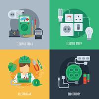 Elektriciteit platte pictogrammen