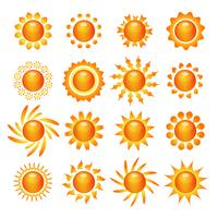 Sun symboolpictogrammen instellen vector