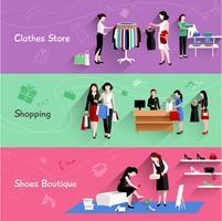 Vrouw winkelen Banner Set