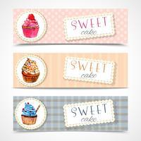Sweetshop cupcakes banners instellen vector
