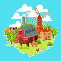 Boerderij veelkleurige concept