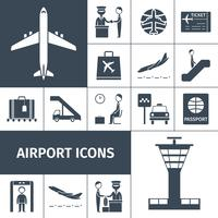 Luchthaven Icons Black Set