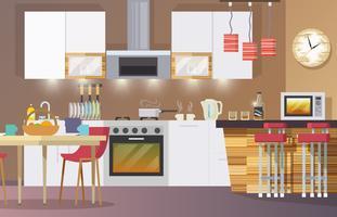 Keuken interieur vlak vector