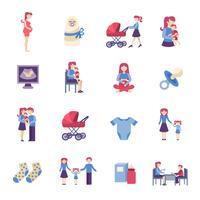 Moederschap plat pictogrammen instellen vector