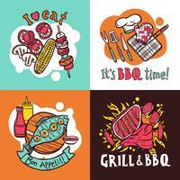 bbq grill ontwerpconcept set vector