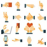 Hand pictogrammen instellen plat vector