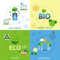 Ecologie 4 plat pictogrammen samenstelling vector