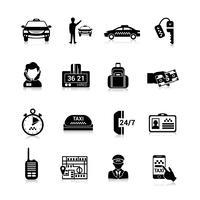 Taxi pictogrammen zwart vector
