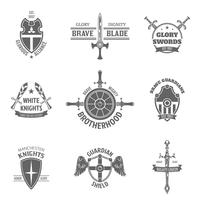 Heraldische wapenschildetiketten die worden geplaatst vector