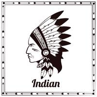 Amerikaans-Indische leider zwarte schets