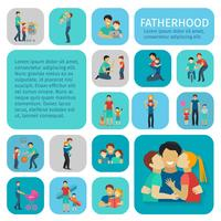 Vaderschap vlakke pictogrammen instellen