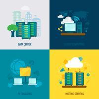Bestand hosting plat pictogrammen samenstelling vector