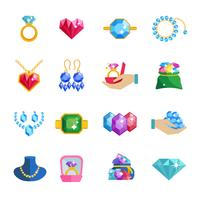 kostbare juwelen pictogrammen plat