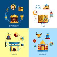 Godsdienst Ontwerp Concept Set vector