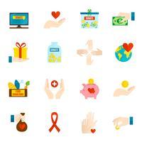 Liefdadigheid Icons Flat Set vector