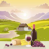 Berglandschap met wijn en kaas vector