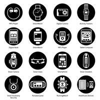 draagbare technologie pictogrammen zwart vector