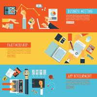 Handen concept teamwerk platte banners instellen vector